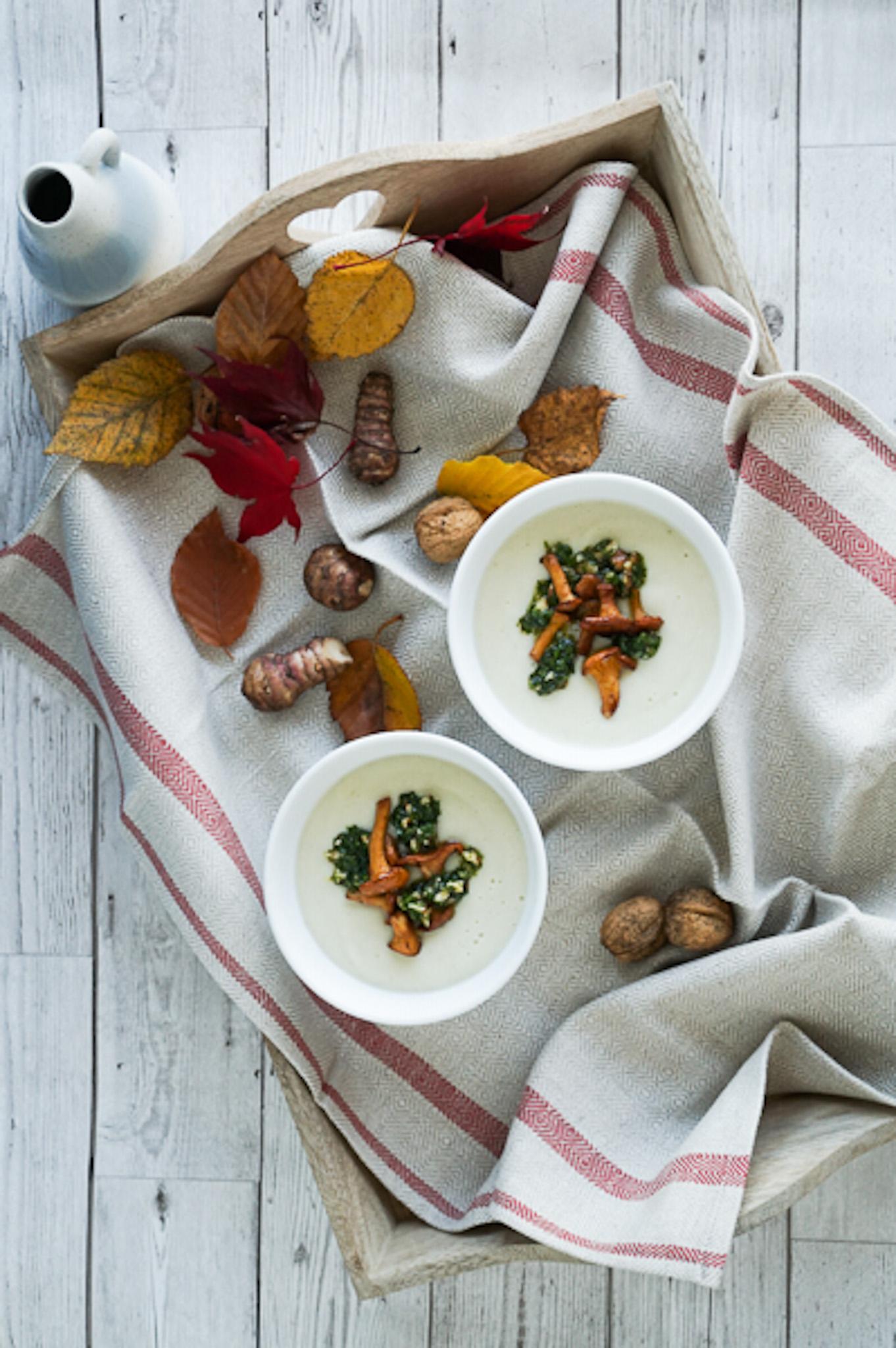 Jerusalem Artichoke Soup with Chanterelles, Lemon, Parsley & Walnuts