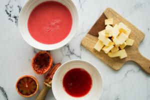 Rhubarb Puree Puree, Blood Orange Juice & Diced Butter