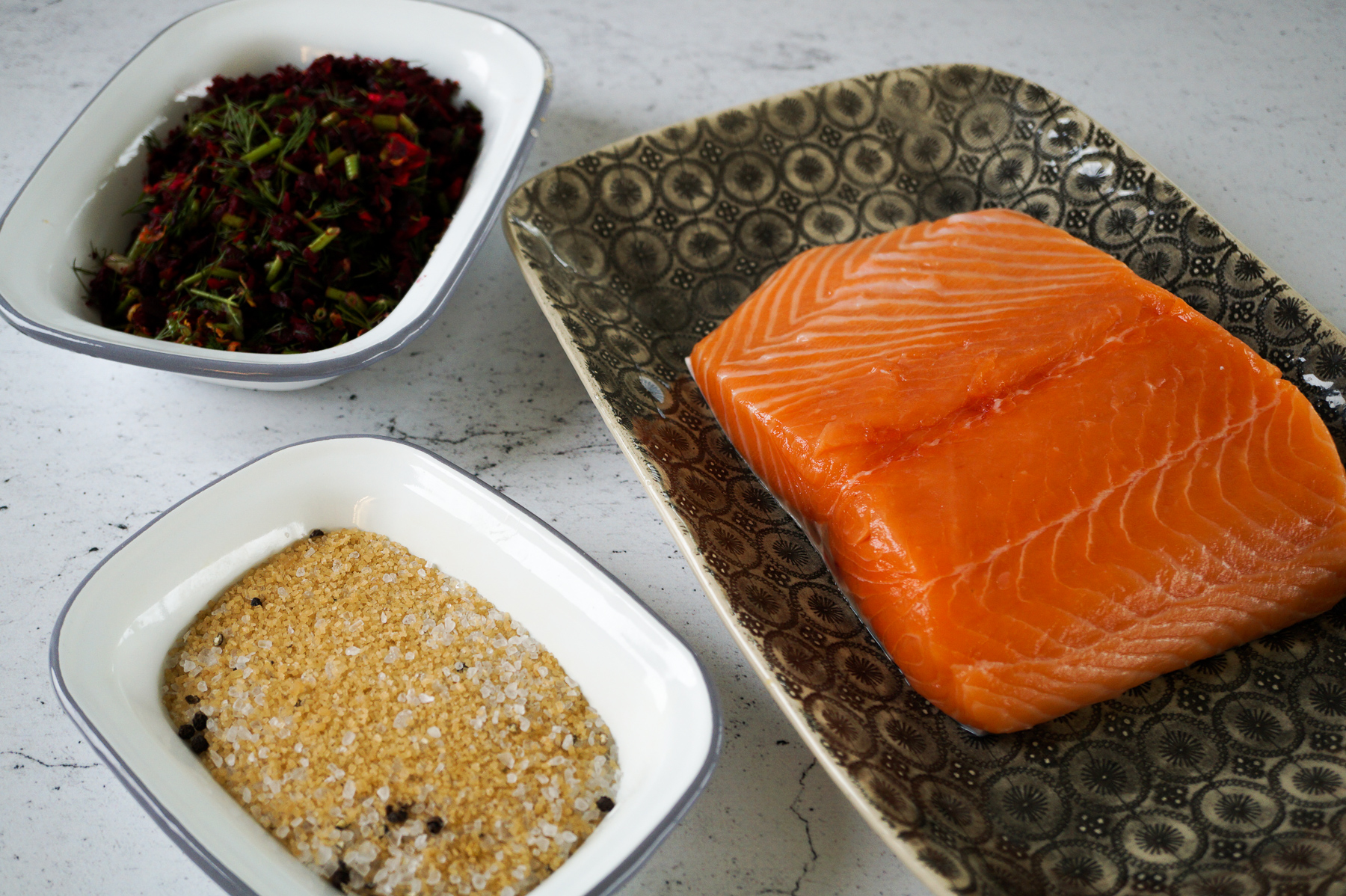 Raw Salmon with Sugar, salt and Beetroot