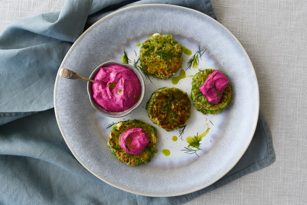 Pea & Dill Cakes with Beetroot Yogurt