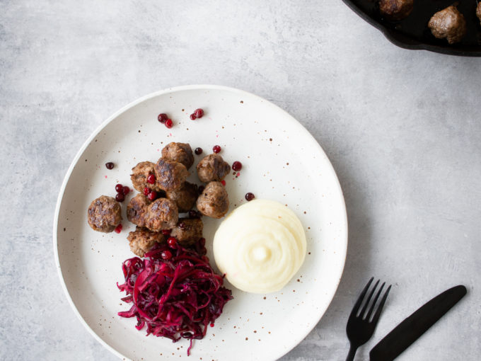Venison Swedish Meatballs with Pickled Red Cabbage Salad