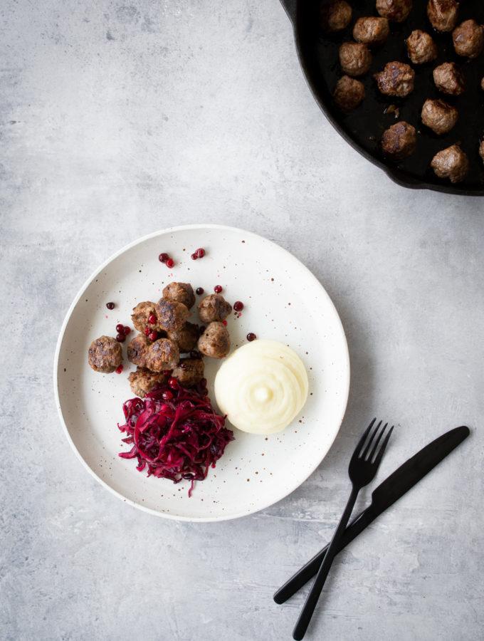 Venison Meatballs & Pickled Red Cabbage Salad