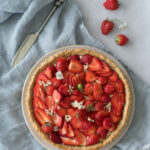 Elderflower & Strawberry Tart with an oat and almond crust