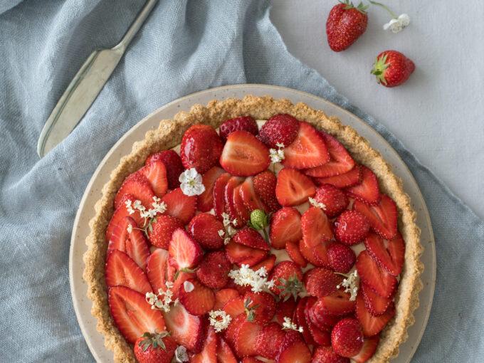 Gluten-Free Strawberry & Elderflower Tart with an Oat & Almond Crust.