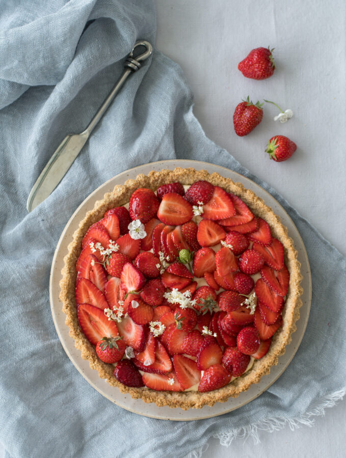Elderflower & Strawberry Tart with an oat and almond crust