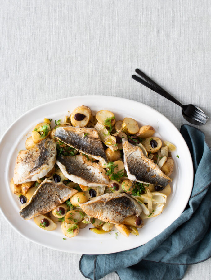 Sea bass, Lemon Roasted New Potatoes & Fennel