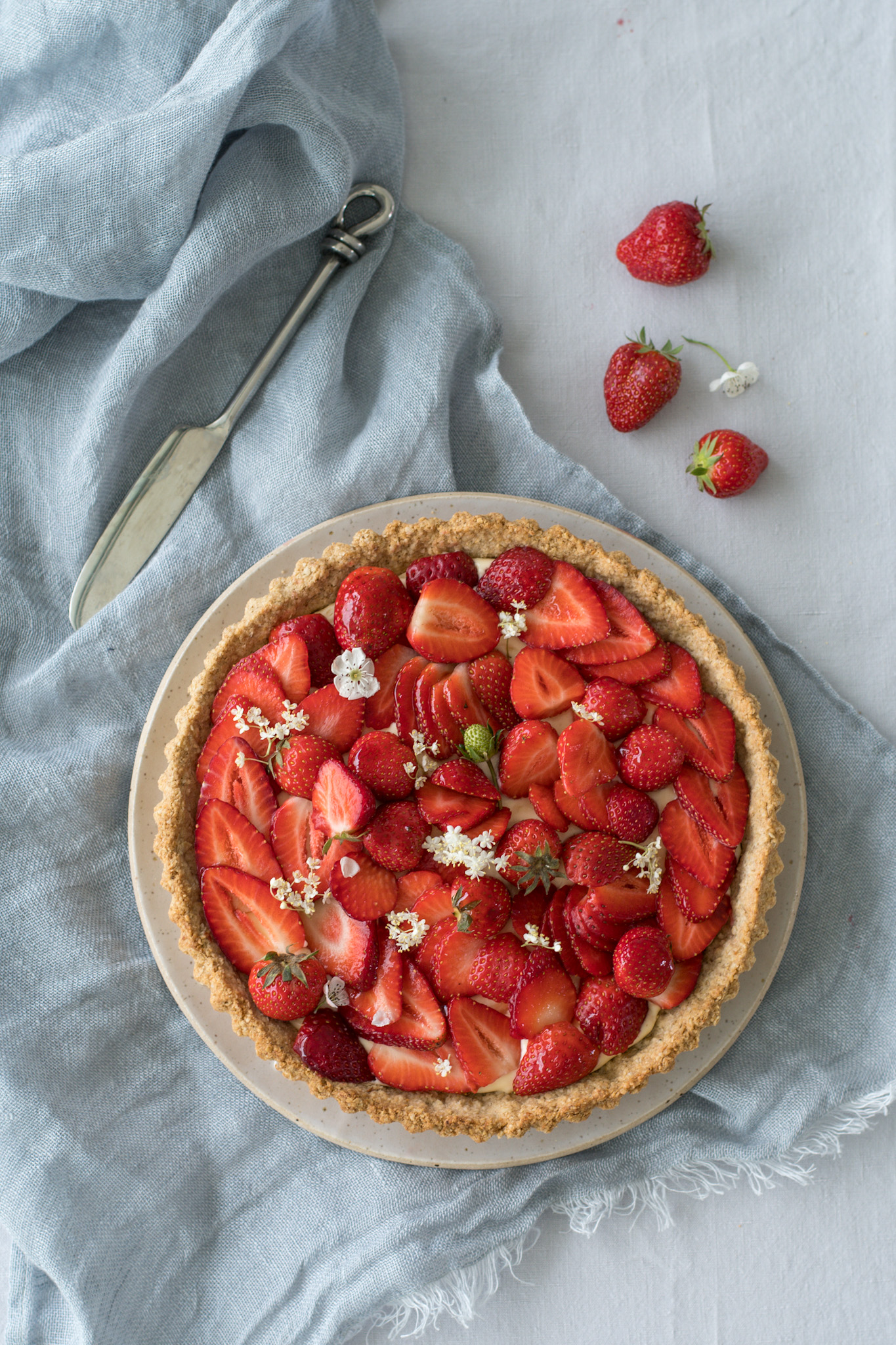 Strawberry & Elderflower Tart with an Oat & Almond Crust.3