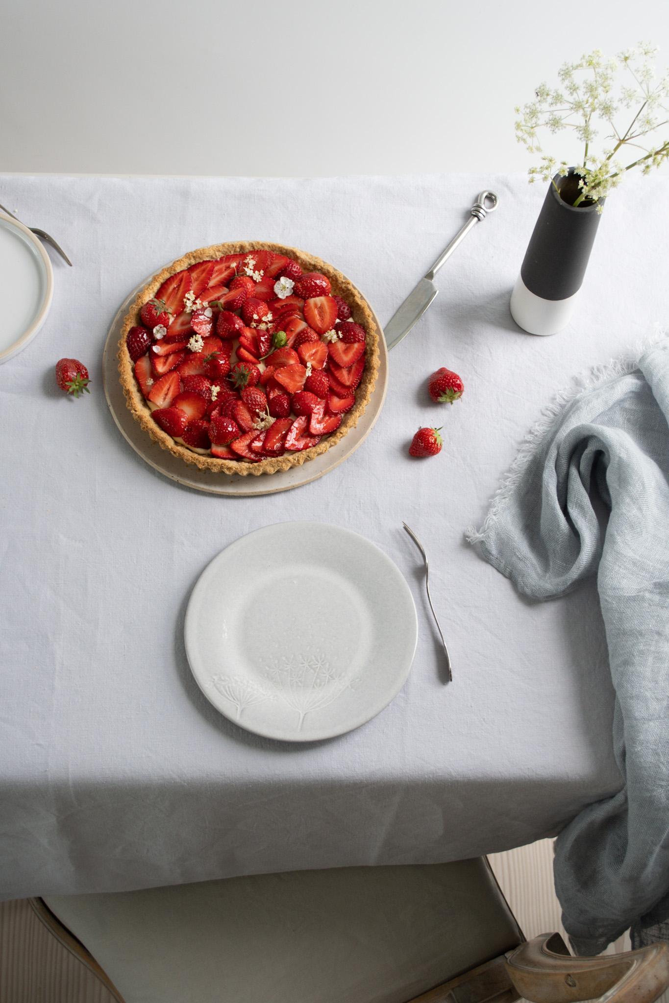 Strawberry & Elderflower Tart with an Oat & Almond Crust.