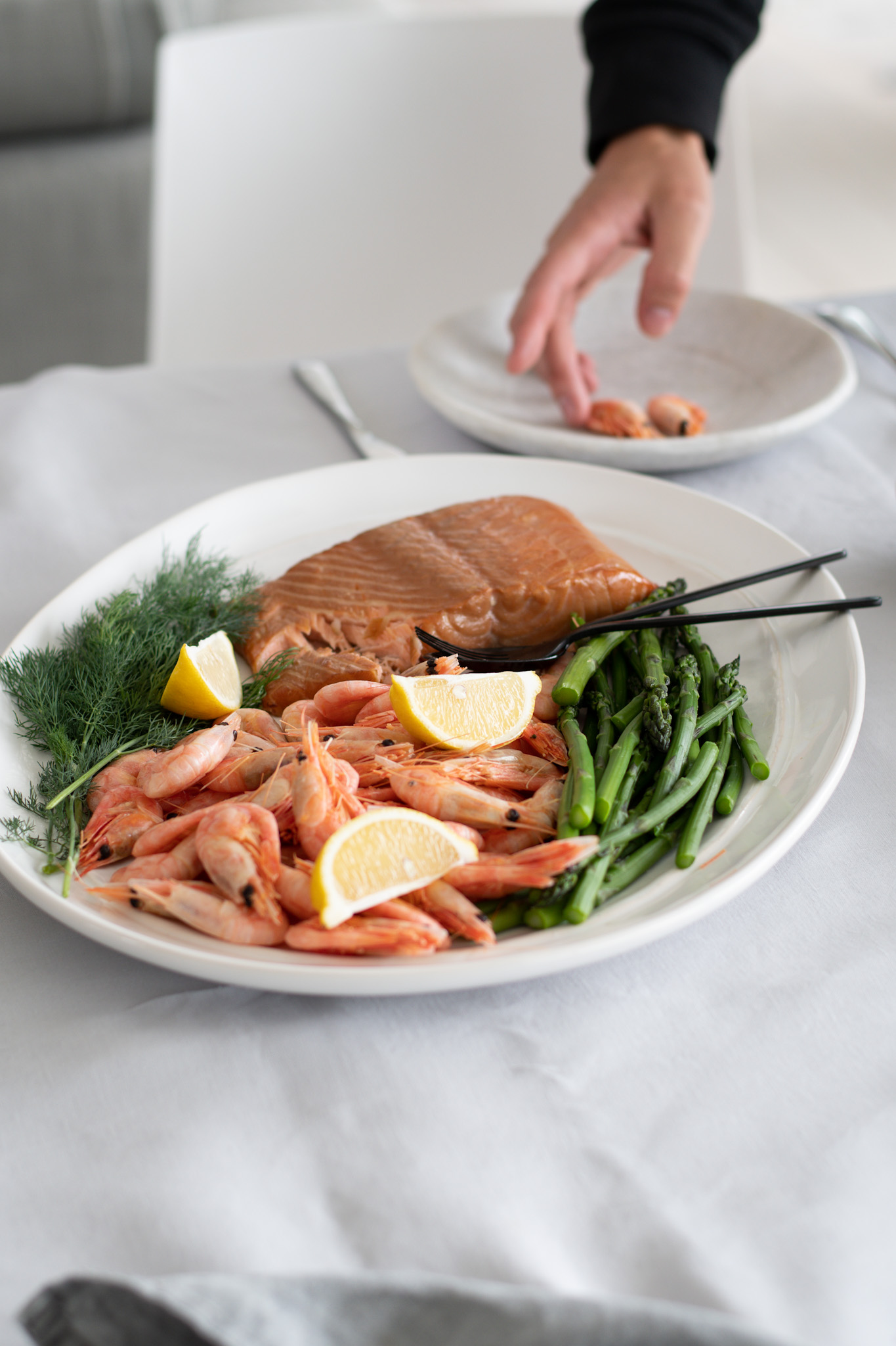 Hot smoked Salmon and North Atlantic Prawns & Asparagus