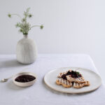 sourdough waffles with Blackcurrant compote