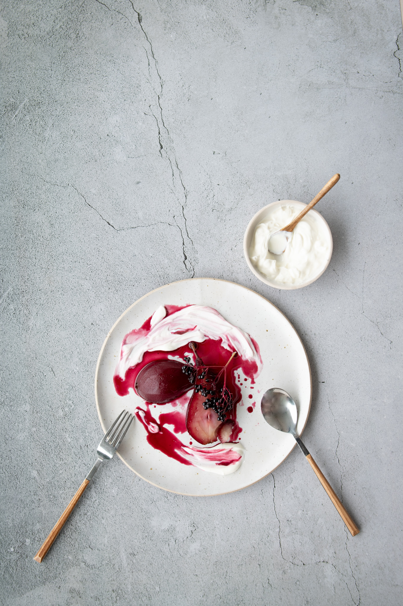 Elderberry Poached Pears