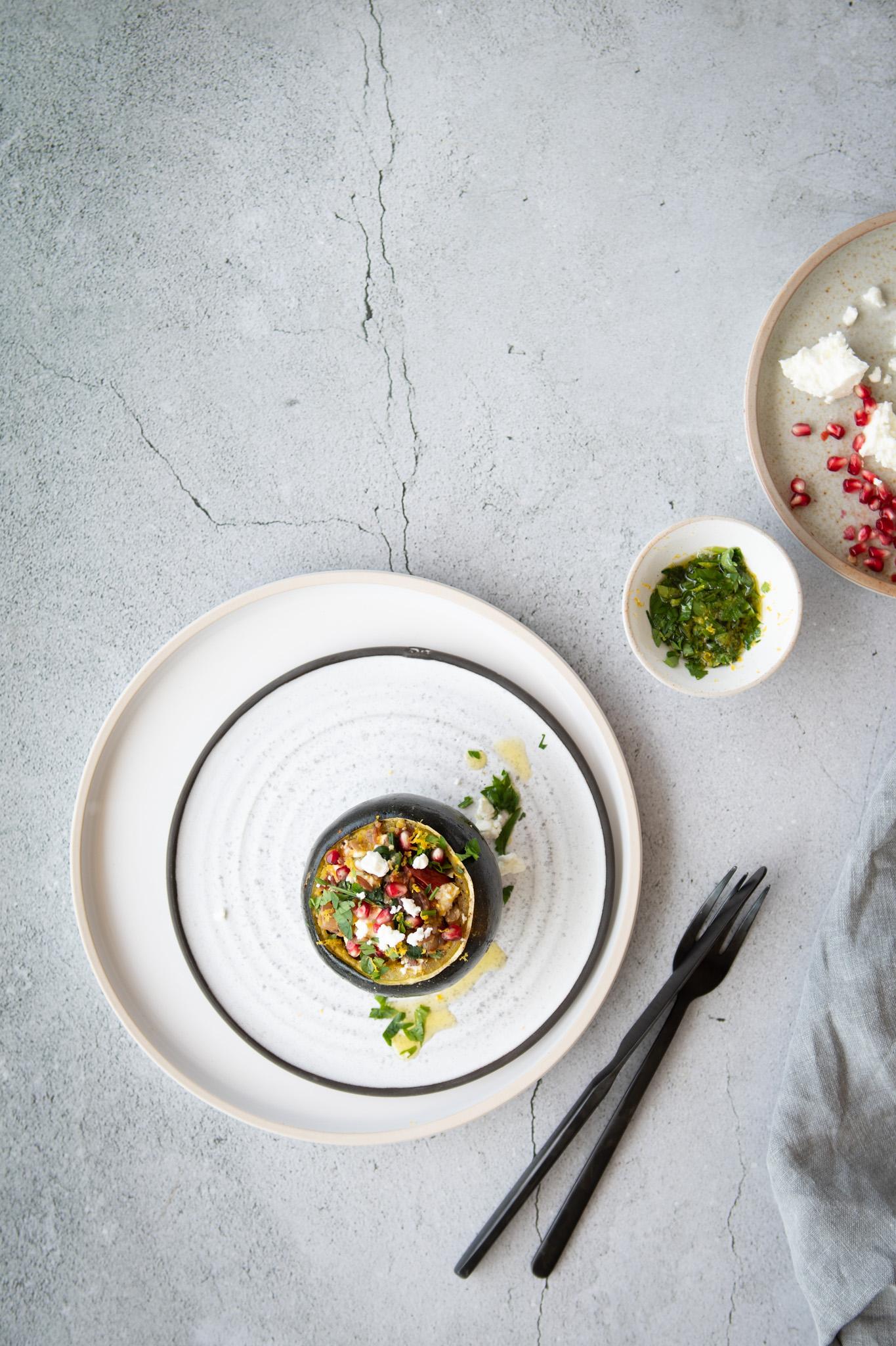 Mushroom & Spinach stuffed Squash