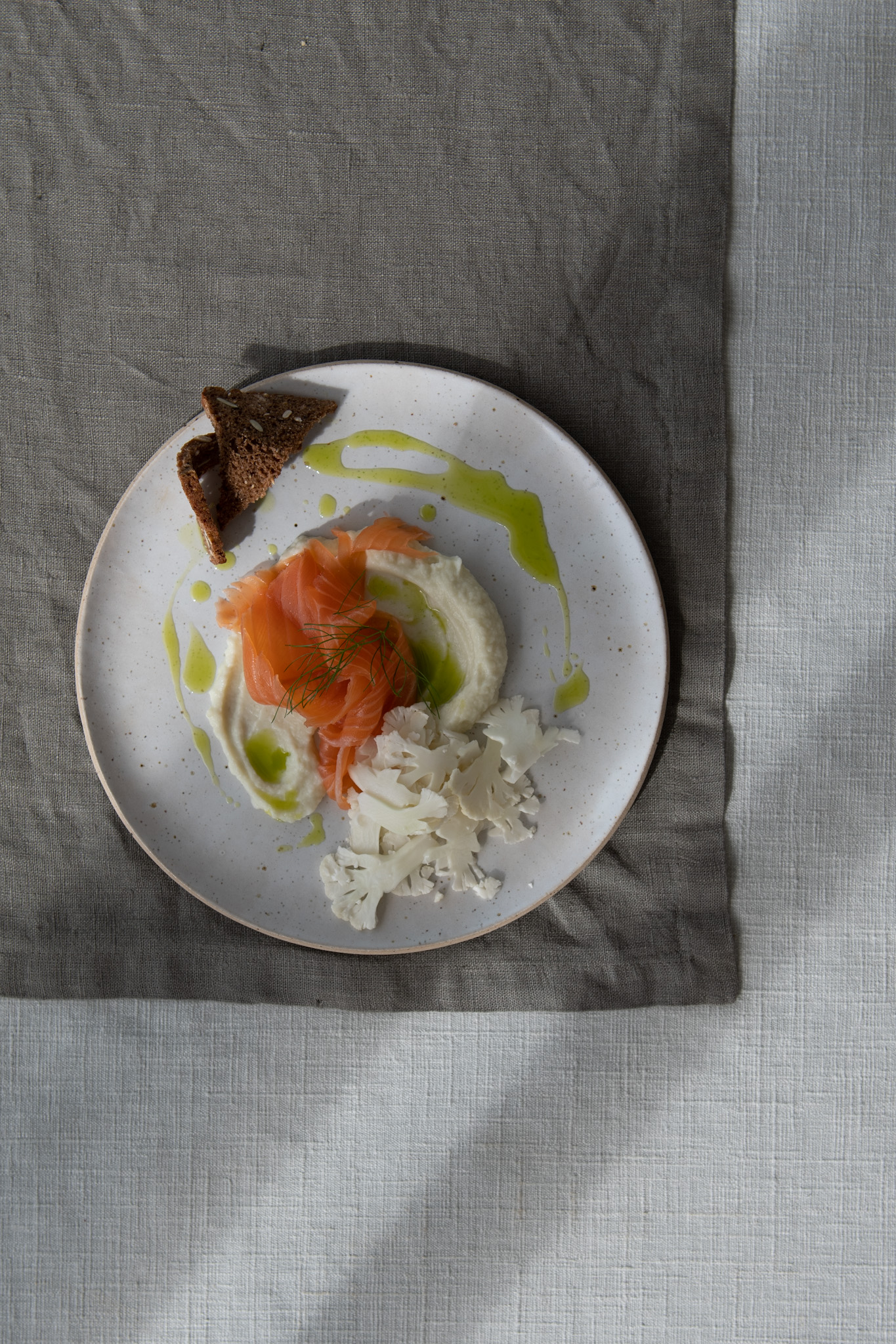 Smoked Salmon, Cauliflower 2 ways, dill oil