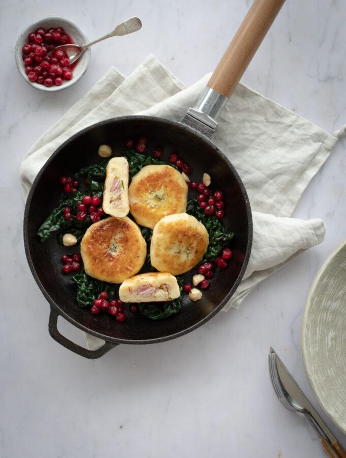 Kroppkakor with lingonberries & kale