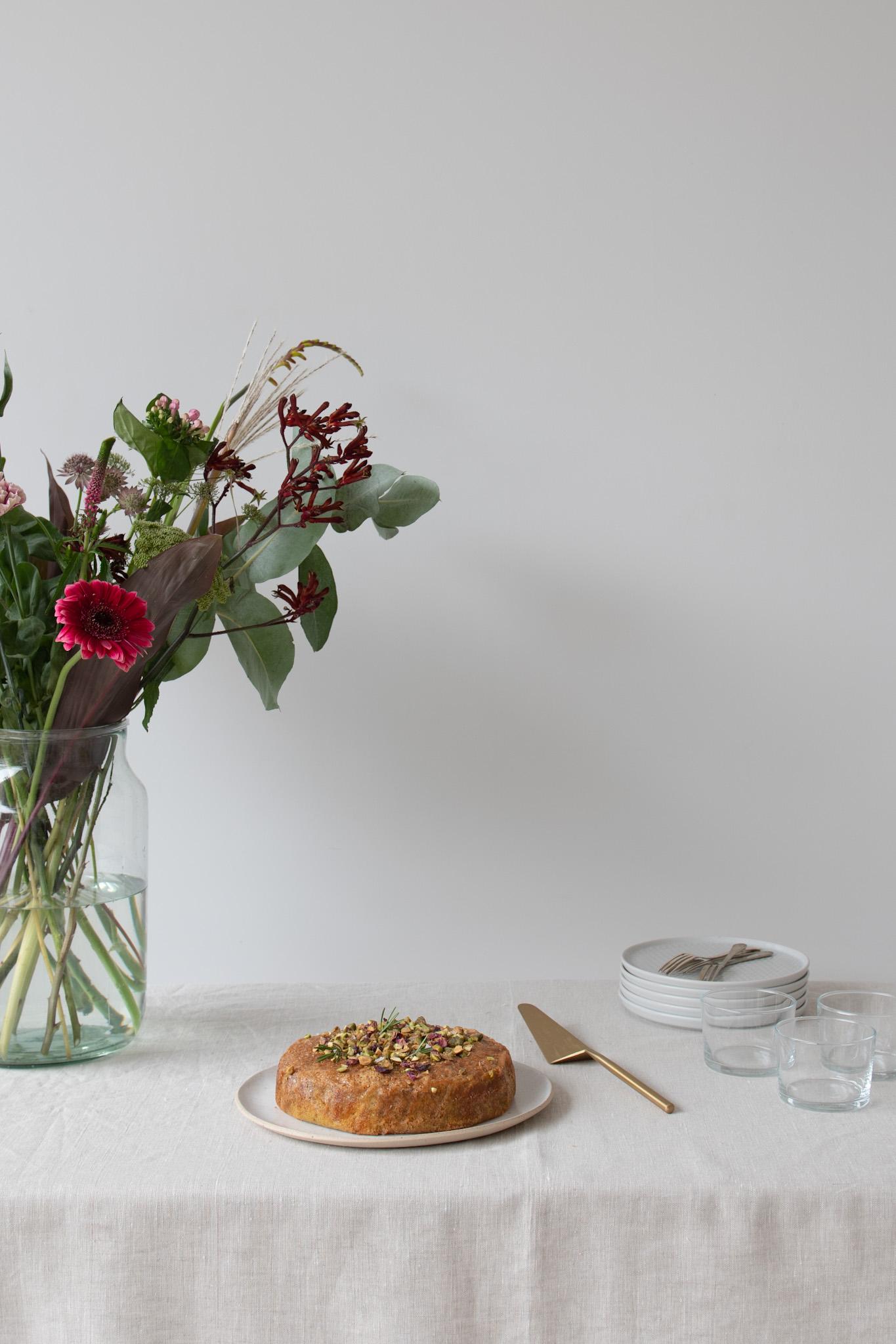 Ruby-Red Grapefruit, Pistachio & Rosemary Cake