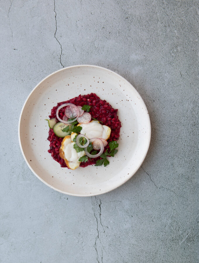 Spiced Monkfish, Barley & Beetroot Risotto