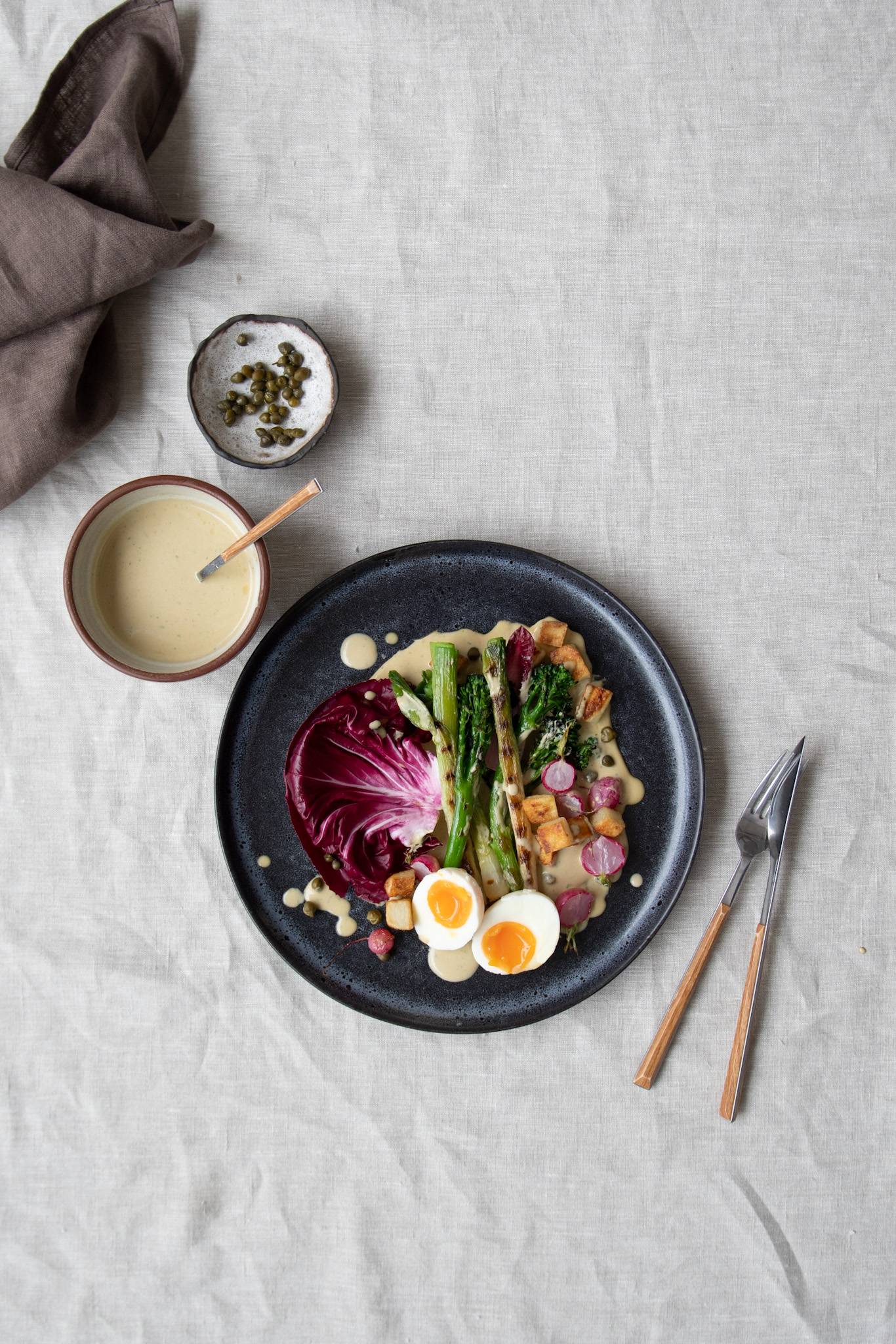 Roasted Vegetables with Tonnato Sauce and Jammy Eggs