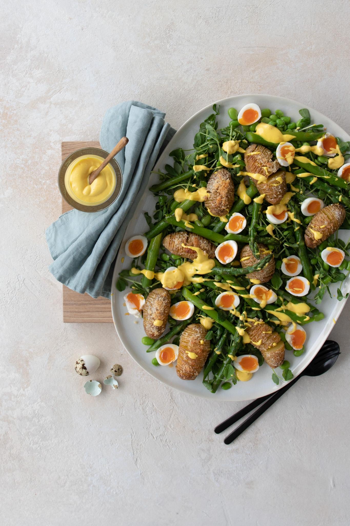 Easter Salad of Quails Eggs & Hasselback Potatoes