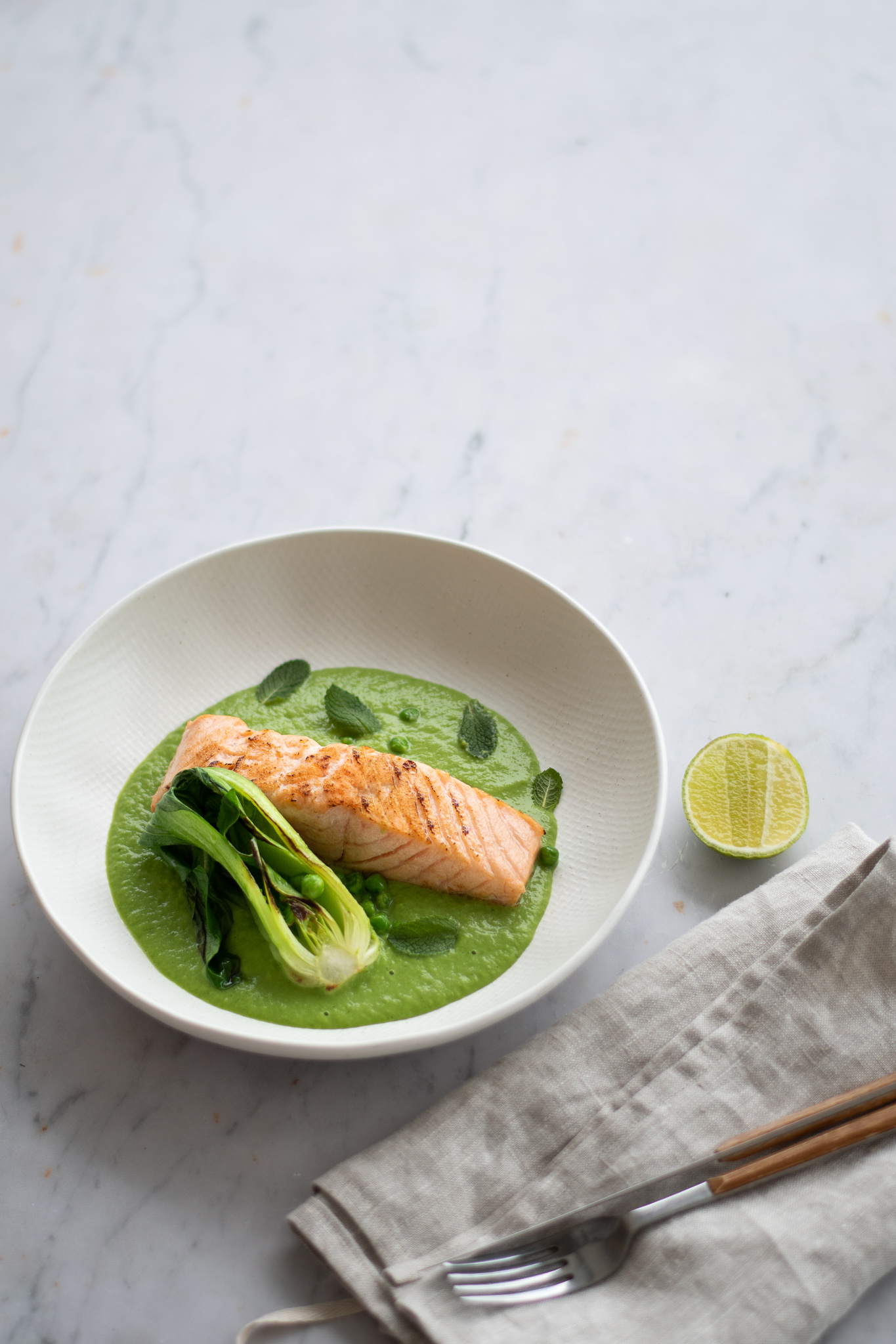 Seared Sea Trout with Pea & Lemongrass Veloute
