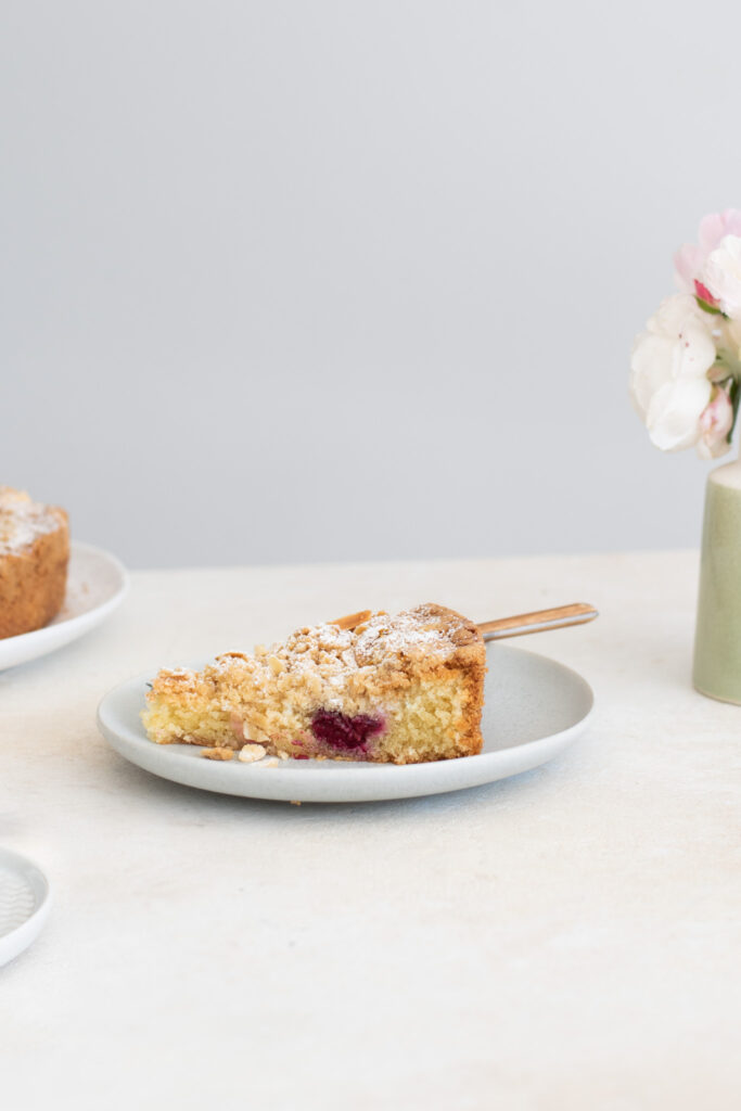 slice of gooseberry and almond streusel torte