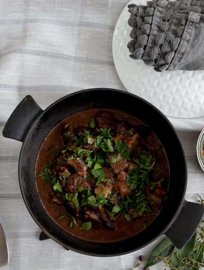 Venison Casserole with Pickled Chanterelles