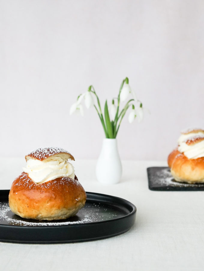 Semlor Buns with Whipped Cream and Almond Paste