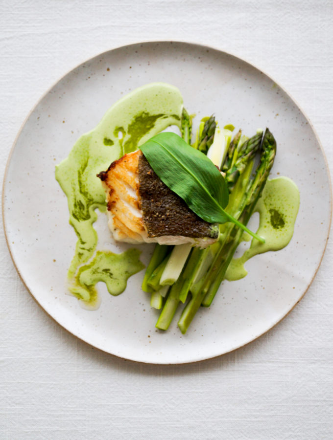 Cod Braised with Dashi Stock, Asparagus, Leeks, Wild Garlic Emulsion & Wild Garlic Oil with Yuzu