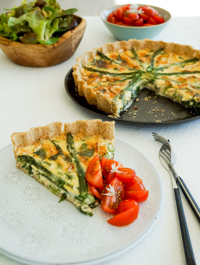 Wild Garlic, Asparagus and Camembert Tart