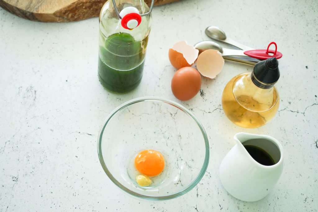 Prepared ingredients for the Wild Garlic Emulsion
