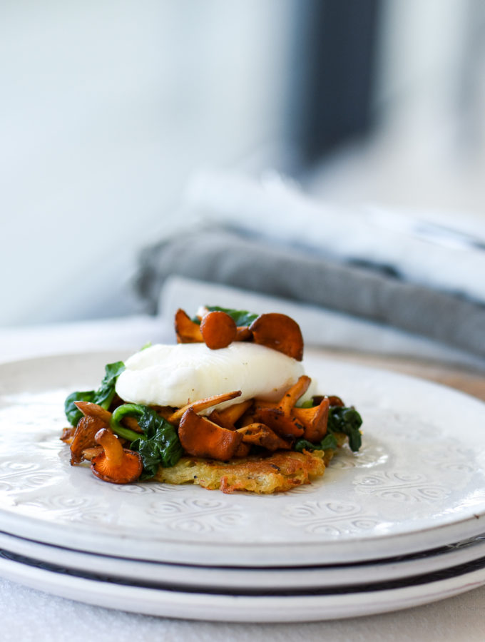 Rosti with Wild mushrooms & Spinach
