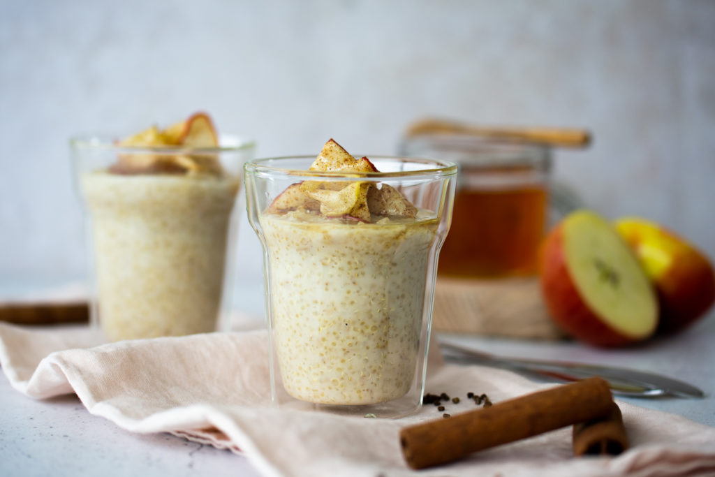 Spiced Oat & Quinoa Porridge with Honeyed Apples