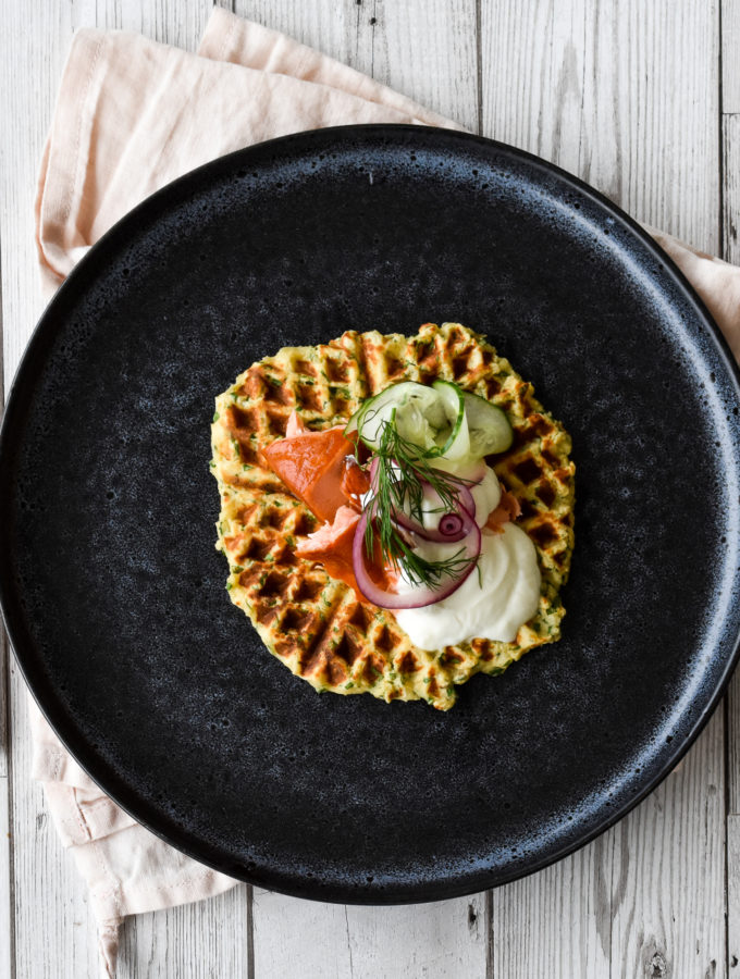 Herby Potato Waffles with Hot Smoked Salmon & Pickled Vegetables
