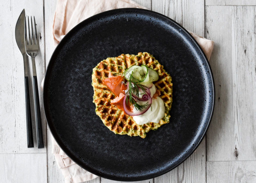 Herby Potato Waffle with Hot Smoked Salmon, Yogurt and Pickled Vegetables