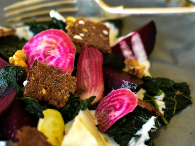 Warm Winter Salad of Beetroot, Kale & Creamed Goats' Cheese