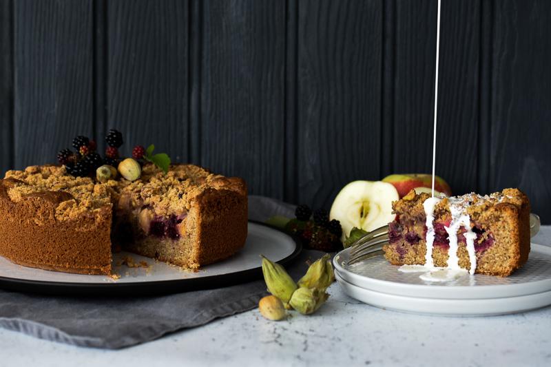 Spelt, Apple, Blackberry & Cobnut Cake with Cream