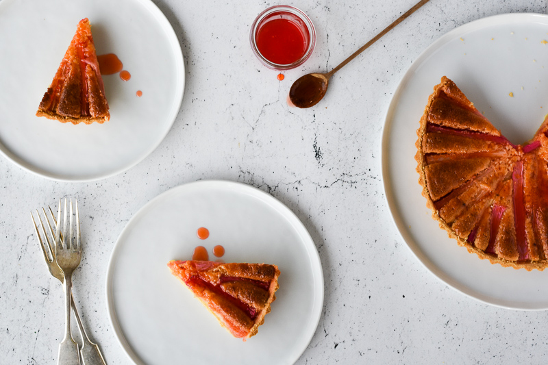 Rhubarb & Blood Orange Frangipane Tart